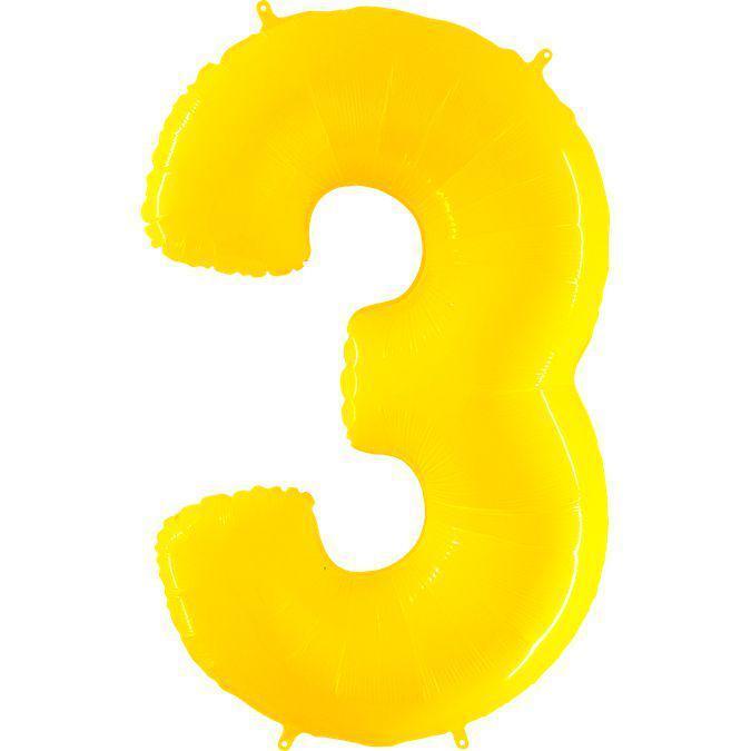 Фольга цифра 3 желтая