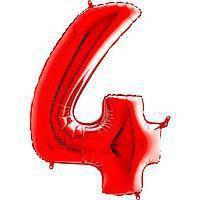 Гелиевая цифра 100 см красная №4