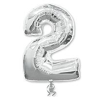 Гелієва цифра 100 см срібло №2