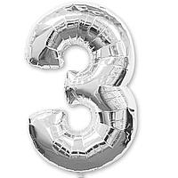 Гелієва цифра 100 см срібло №3