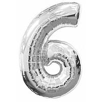 Гелієва цифра 100 см срібло №6