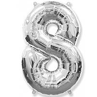 Гелієва цифра 100 см срібло №8