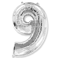 Гелієва цифра 100 см срібло №9