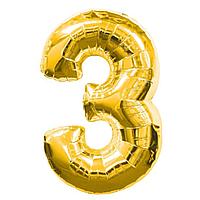 Гелієва цифра 100 см золото №3