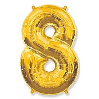 Гелієва цифра 100 см золото №8