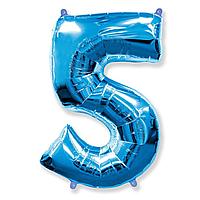 Гелієва цифра 100 см синя №5