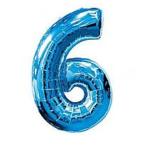 Гелієва цифра 100 см синя №6