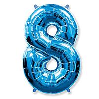 Гелієва цифра 100 см синя №8