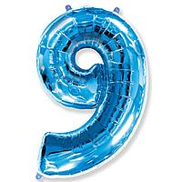 Гелієва цифра 100 см синя №9
