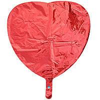 Гелиевый шар фольга красное сердце 45см