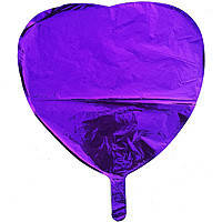 Гелиевый шар фольга фиолетовое сердце 45см