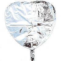 Гелиевый шар фольга серебряное сердце 45см