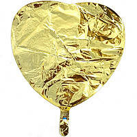Гелиевый шар фольга золотое сердце 45см