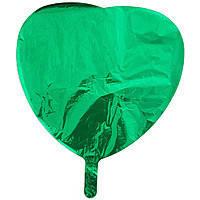 Гелиевый шар фольга зеленое сердце 45см