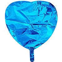 Гелиевый шар фольга голубое сердце 45см