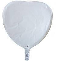 Гелиевый шар фольга белое сердце 45см Anagram