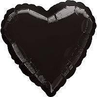 Гелиевый шар фольга черное сердце 45см Anagram