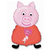 Гелиевые фигуры большие фольга Свинка красная 901713