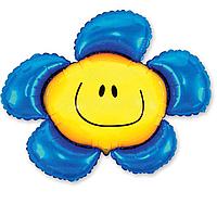 Гелиевые фигуры большие фольга синий цветок