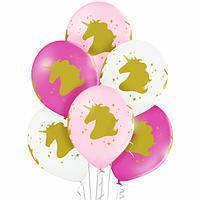 """Гелиевый шар без обработки с рисунком 12"""" 30 см пастель единорог голова белый"""