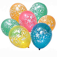 """Гелиевый шар с обработкой с рисунком 12"""" 30 см пастель водный мир"""