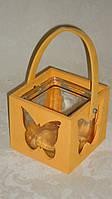 Декоративный деревянный подсвечник оранжевый, фото 1