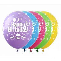 """Шары 12"""" 30 см пастель с днем рождения торт2"""