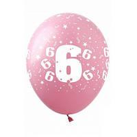 "Шары 12"" 30 см цифра ""6"""