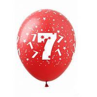 "Шары 12"" 30 см цифра ""7"""