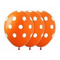"""Шары 12"""" 30 см горох оранжевый"""