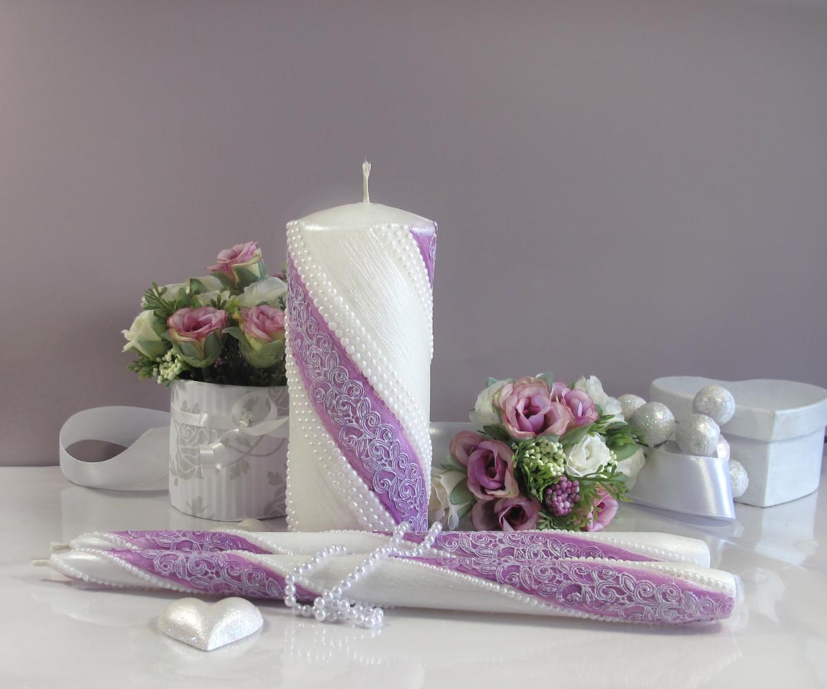Свеча очаг набор 3шт (Куплет) фиолетовая