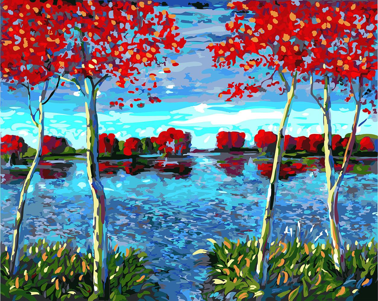 Картина по номерам Деревья на пруду