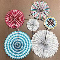 Веера бумажные для декора 6шт Голубенькие