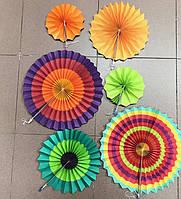 Веера бумажные для декора 6шт Оранжевые