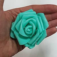 Роза головка латексная 8 см бирюза