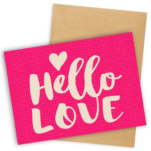 Открытка с конвертом  Hello love