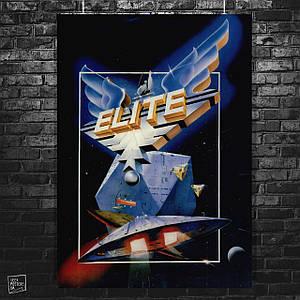 Постер Elite, Элита, 1984, Тёмное Колесо, Дэвид Брэйбен, Спектрум, ретроигры. Размер 60x42см (A2). Глянцевая бумага