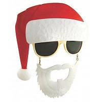 Маска для детей Санта-Клаус с очками реквизит для праздника - Цветной