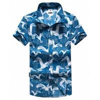 Мужская Спортивная отдых на море геометрический пляж рубашка - Небесно-голубой