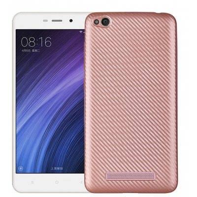 Luanke углеродного волокна TPU мягкий чехол для Xiaomi Redmi 4A - Розовый золотистый, фото 2