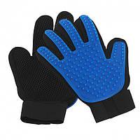 Перчатка для вычесывания шерсти True Touch для кошек и собак Черно-синяя