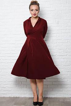 Платье большого размера Аврора бордовое