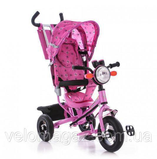 Детский велосипед Azimut ВС-17B Air с фарой трехколесный розовый