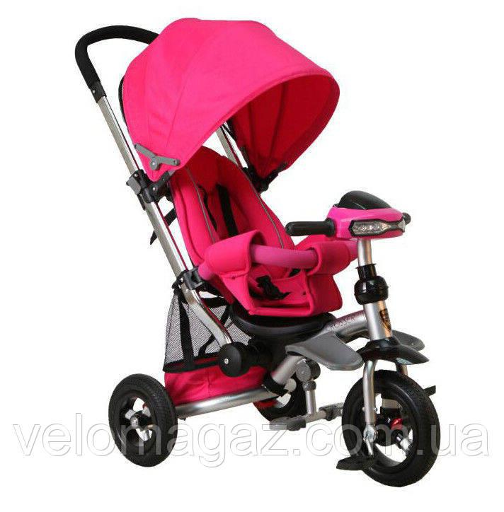 Crosser T 350 air дитячий триколісний велосипед рожевого кольору з фарою