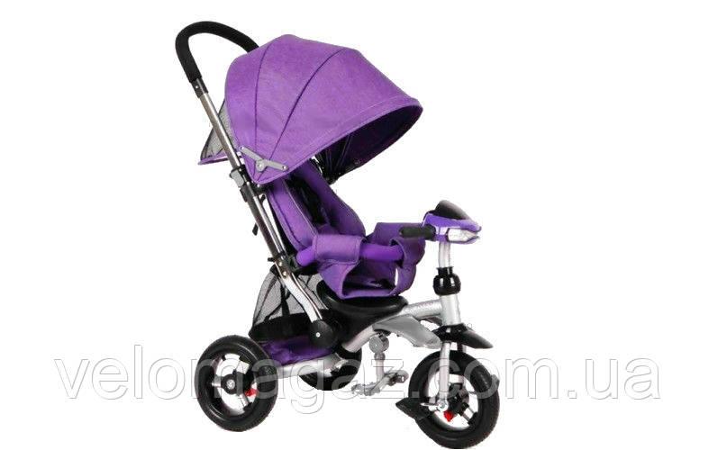 Crosser T 350 ECO AIR детский трехколесный сиреневый велосипед-коляска