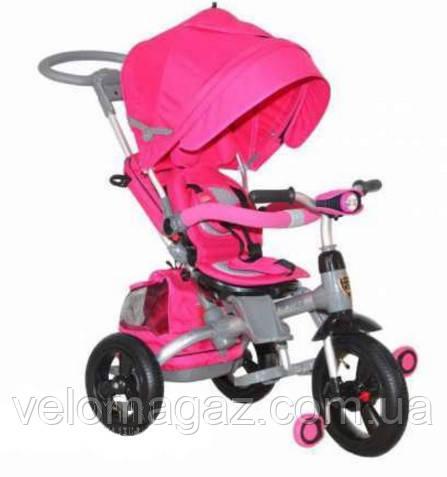 Azimut T-500 AL Air детский трёхколёсный велосипед-коляска розовый с ФАРОЙ и надувными колесами Transformer