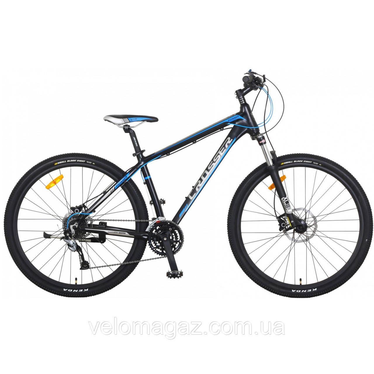 """Велосипед CROSSER Pionner*17 26"""" сіро-блакитний, алюмінієвий, гірський гідравліка"""