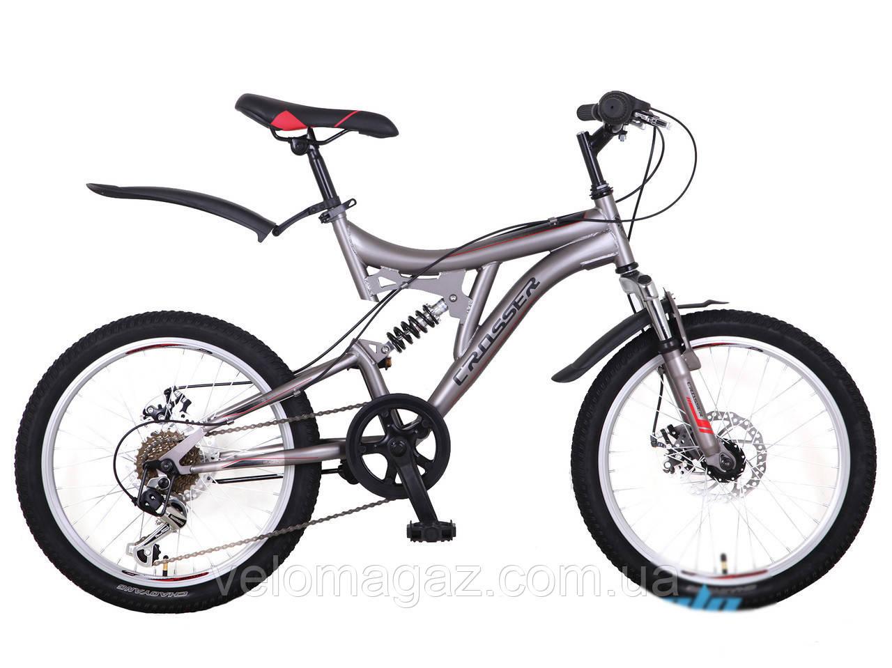 """Велосипед горный Crosser Smart *19 26"""" серый алюминиевый двухподвесный"""