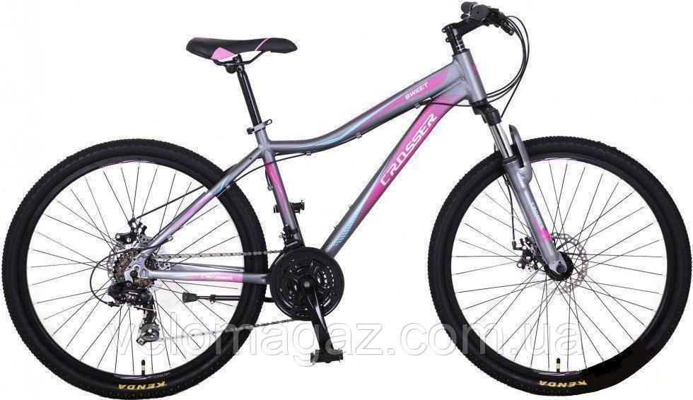 """Велосипед горный алюминиевый Crosser Sweet 24"""" рама 14"""",серый"""