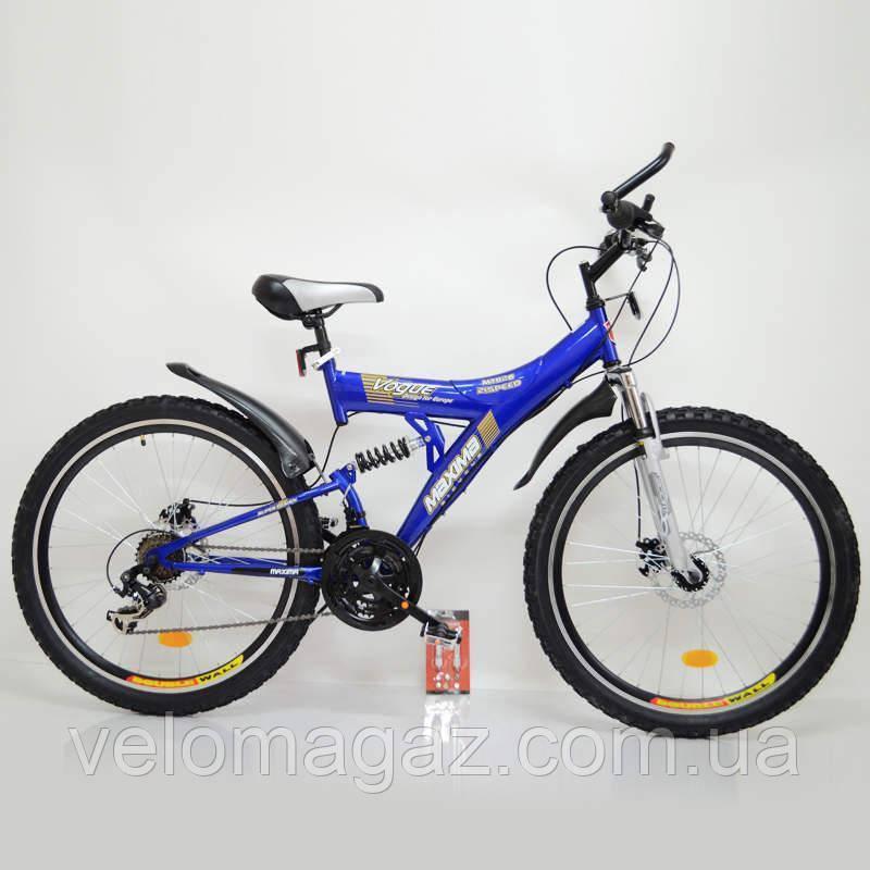 Велосипед SIGMA MAXIMA T26-726A-DBF Blue стильный спортивный двухподвесной подростковый